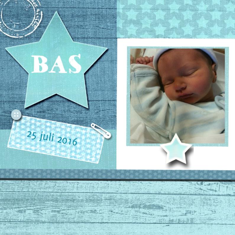 Geboortekaartjes - geboorte jongen ster foto