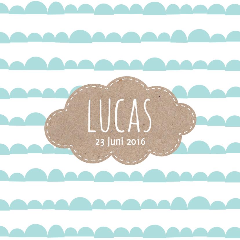 Geboortekaartjes - Geboorte jongen wolk karton