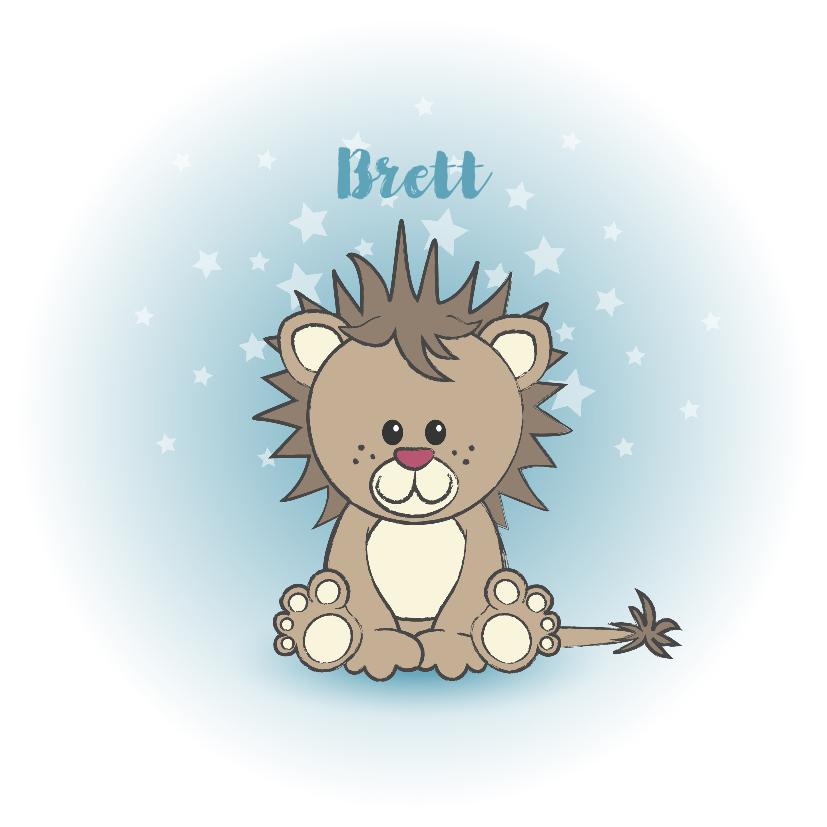 Geboortekaartjes - Geboorte kaart jongen lief leeuw sterren