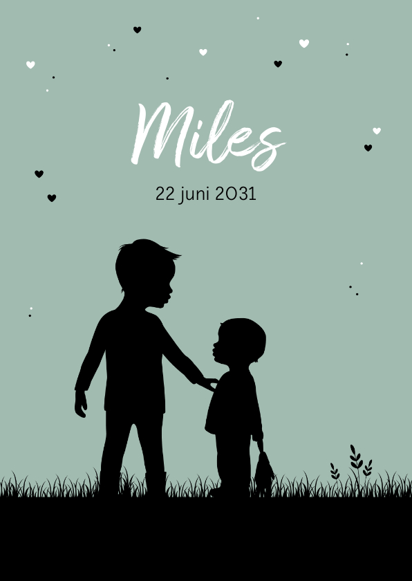 Geboortekaartjes - Geboorte kaartje silhouet jongen met broertje