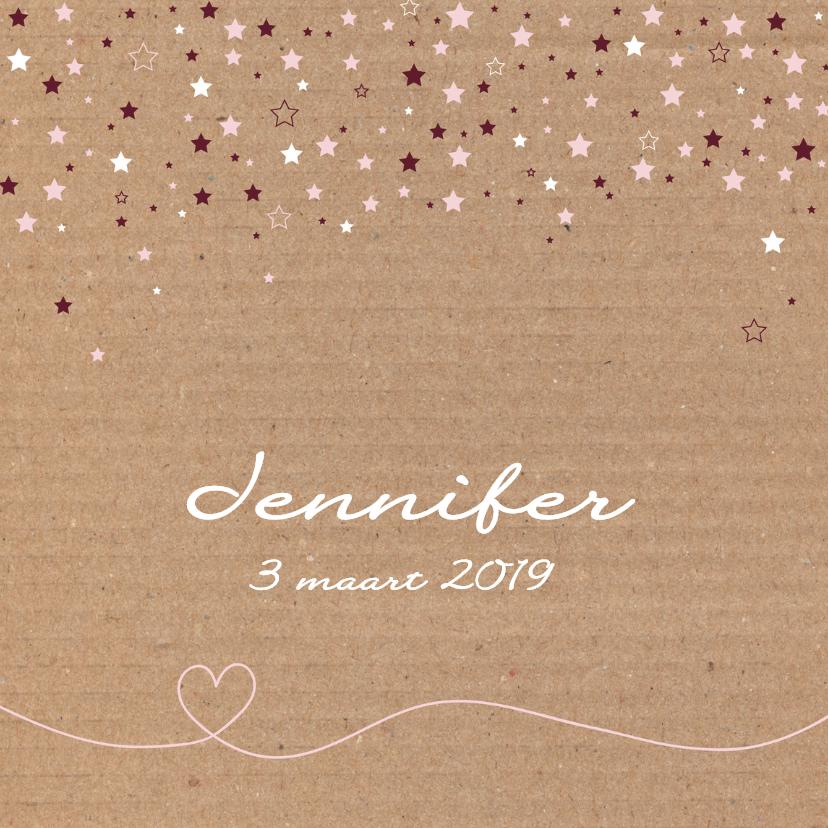 Geboortekaartjes - Geboorte-Karton, sterren, meisje