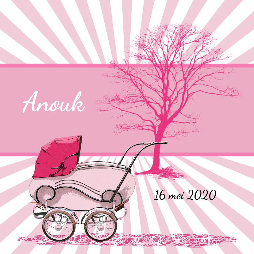 Geboortekaartjes - Geboorte kinderwagen roze - HR