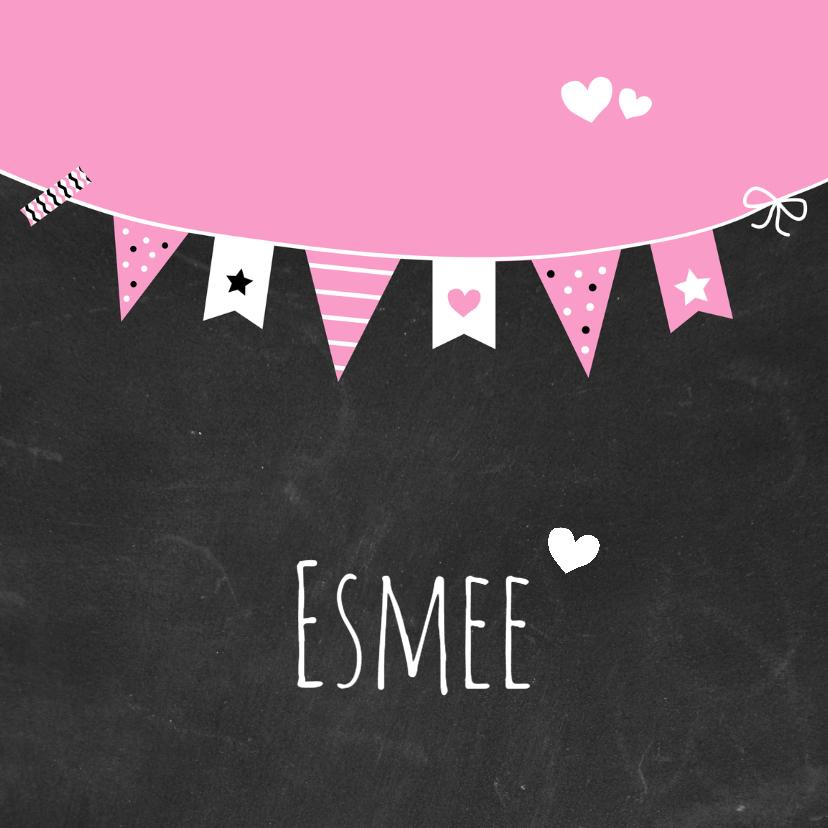 Geboortekaartjes - Geboorte - Krijtbord, vlag, roze