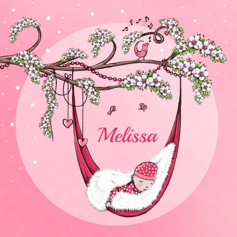 Geboortekaartjes - Geboorte lente bloesem roze - IH