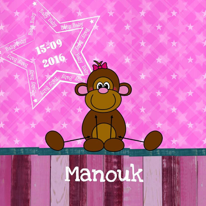 Geboortekaartjes - Geboorte lief aapje hout roze