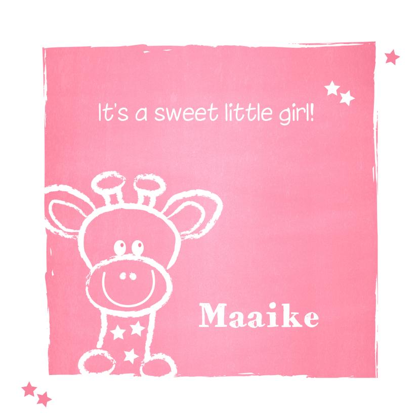 Geboortekaartjes - Geboorte lief girafje roze krijt