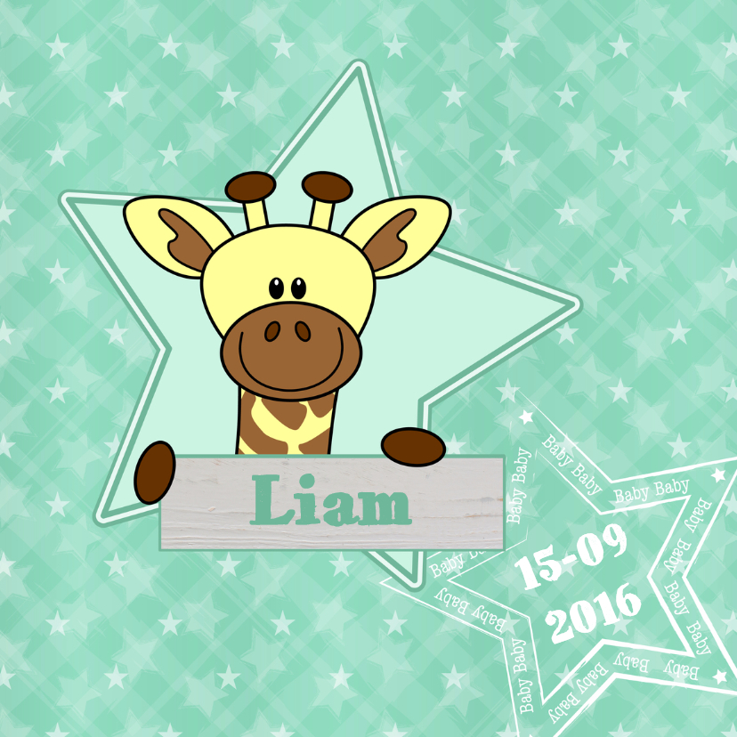 Geboortekaartjes - Geboorte lief girafje ster groen
