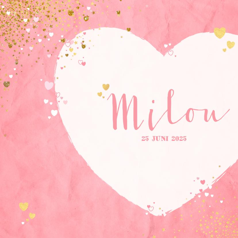 Geboortekaartjes - Geboorte lief roze kaartje met sterretjes en hartjes