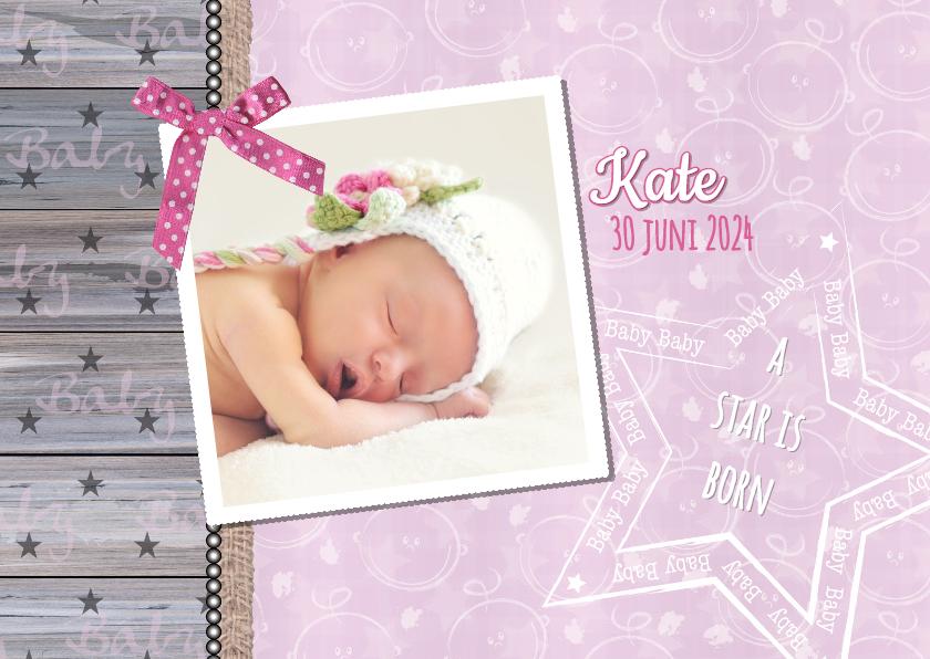 Geboortekaartjes - Geboorte lief stoer foto roze