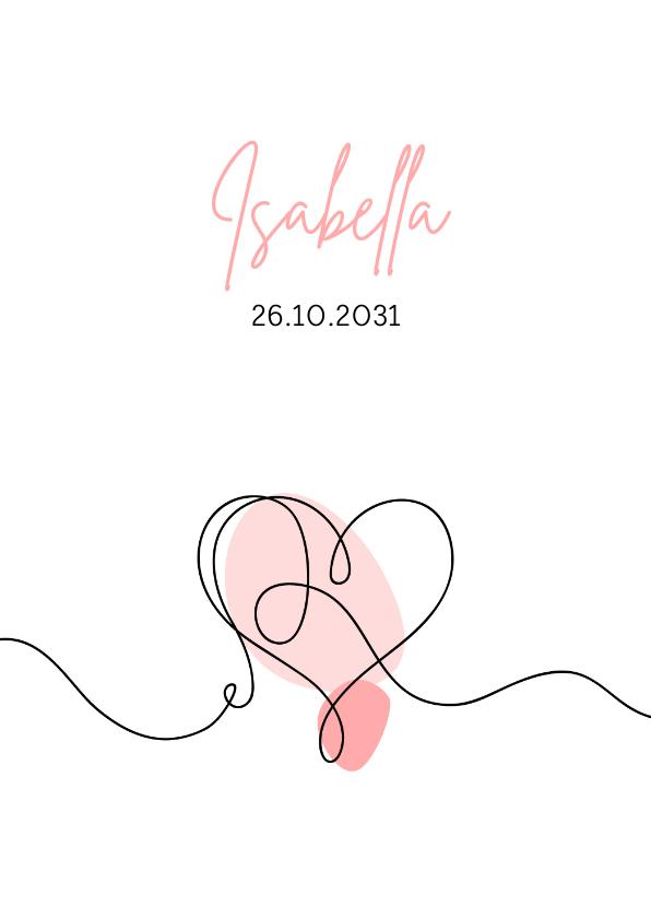 Geboortekaartjes - Geboorte - Lijntekening hartje