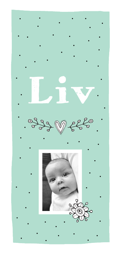 Geboortekaartjes - Geboorte meisje foto hartjes grafisch Liv - MW