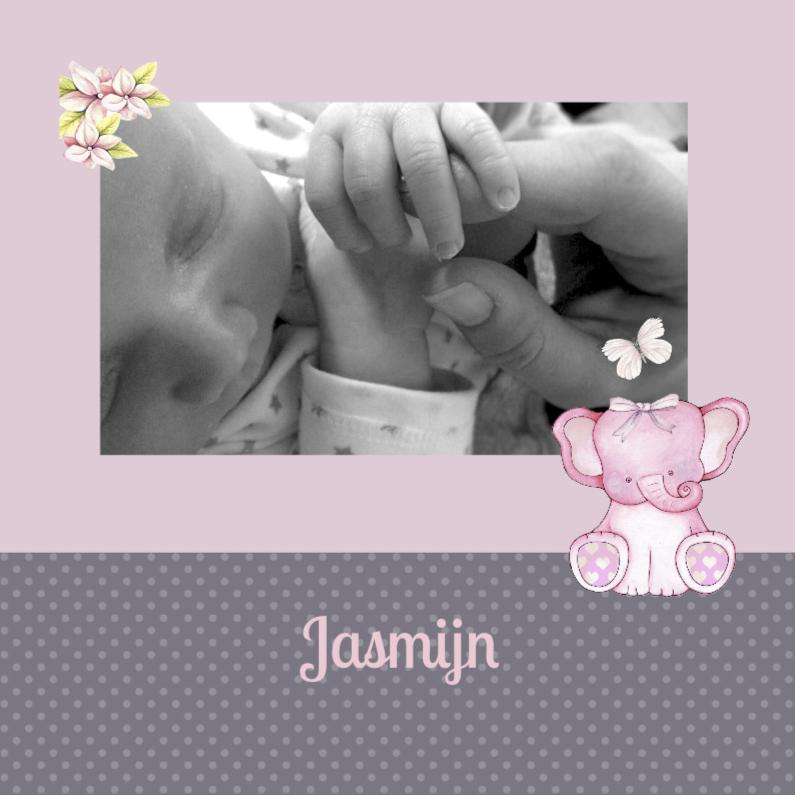 Geboortekaartjes - Geboorte meisje foto olifantje