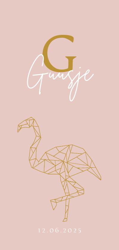 Geboortekaartjes - Geboorte meisje geometrisch flamingo
