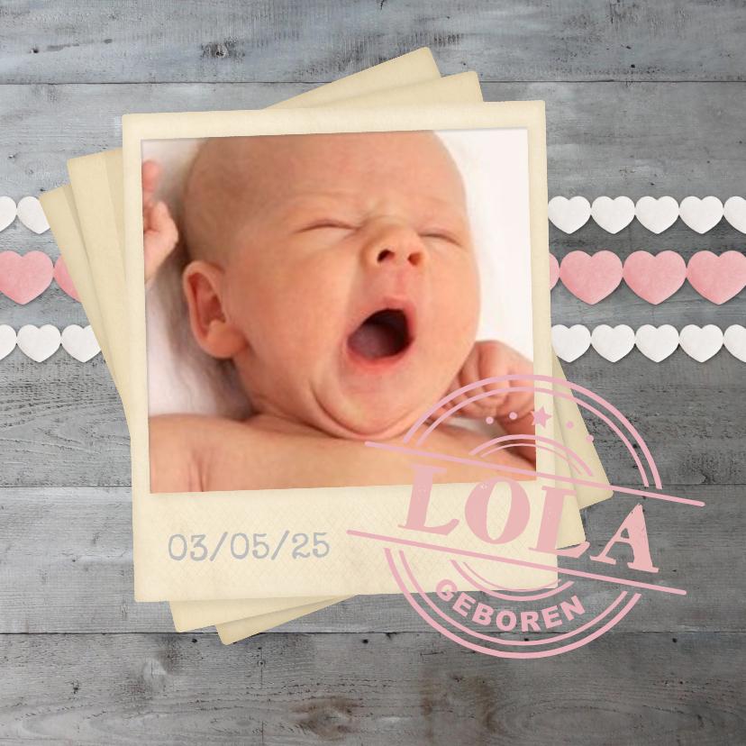 Geboortekaartjes - Geboorte meisje hartjes polaroid