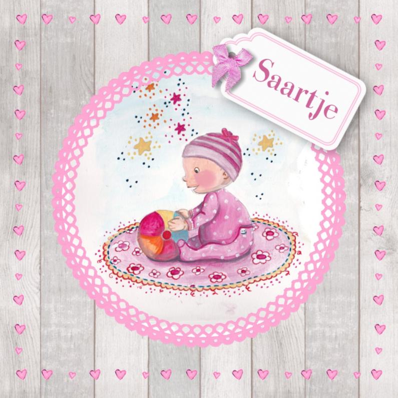 Geboortekaartjes - Geboorte Meisje Illustratie Baby Roze