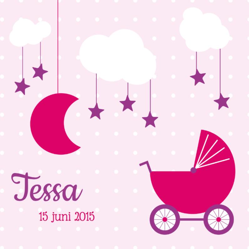 Geboortekaartjes - Geboorte meisje kinderwagen 1