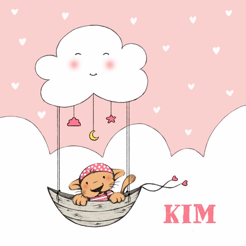 Geboortekaartjes - Geboorte meisje leeuw wolk - IH