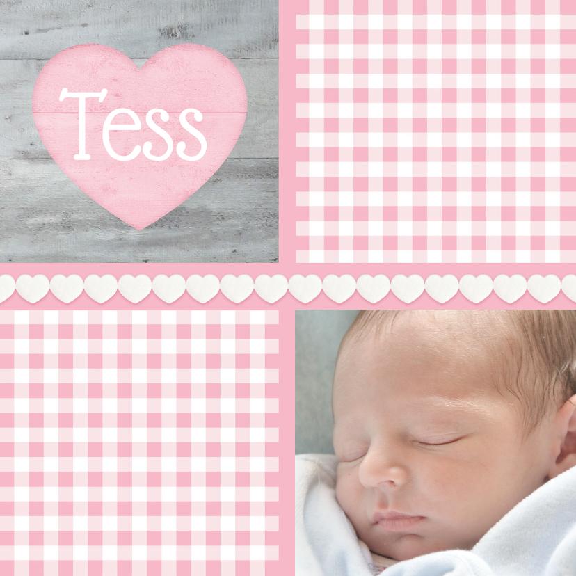 Geboortekaartjes - Geboorte Meisje Lief Hout hartje
