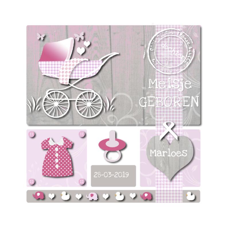 Geboortekaartjes - Geboorte meisje met hout
