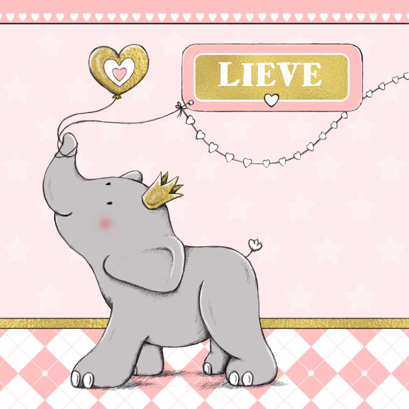 Geboortekaartjes - Geboorte meisje olifant goud-IH