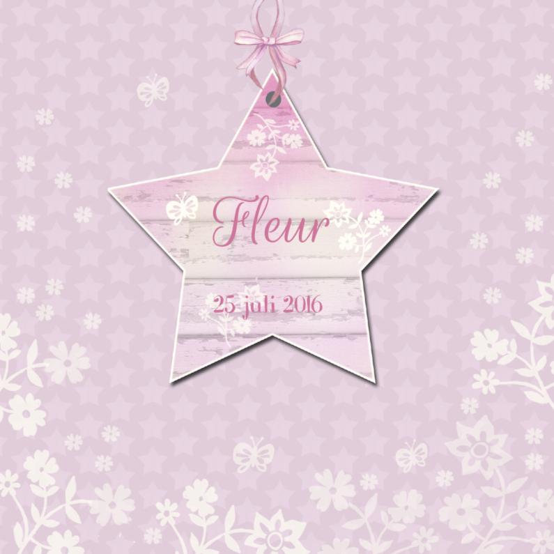 Geboortekaartjes - Geboorte meisje ster bloemen