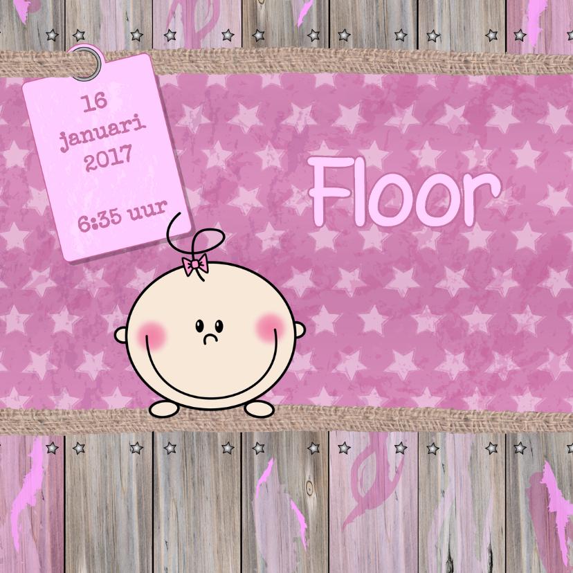 Geboortekaartjes - Geboorte meisje ster hout roze