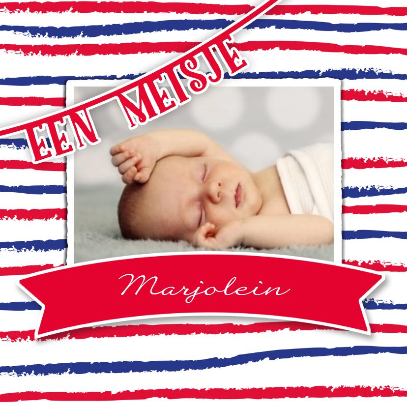 Geboortekaartjes - Geboorte meisje strepen - DH
