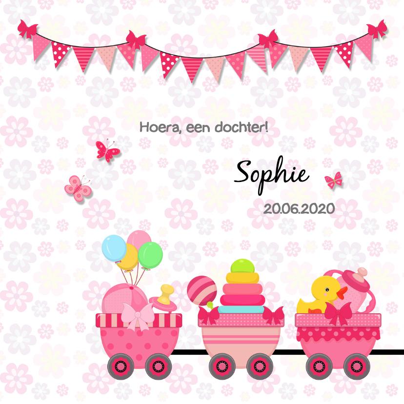 Geboortekaartjes - Geboorte meisje-trein-speelgoed