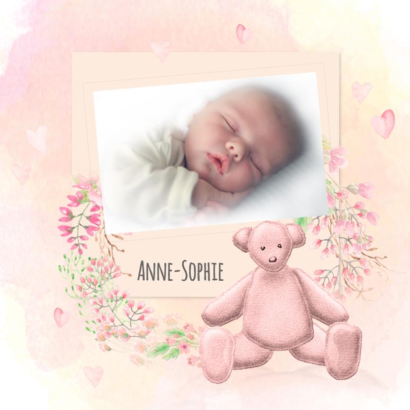Geboortekaartjes - Geboorte meisje waterverf -beer-