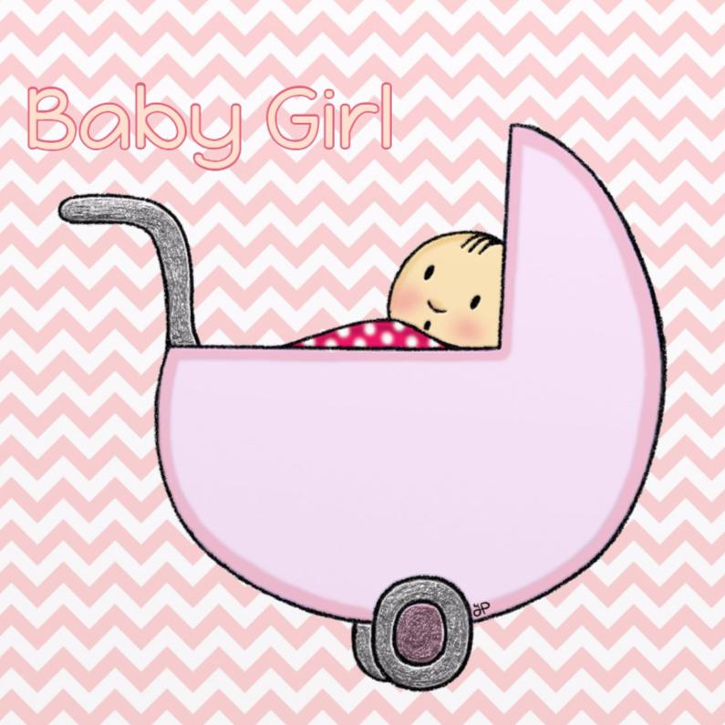 Geboortekaartjes - Geboorte Meisje Wiegje - TbJ