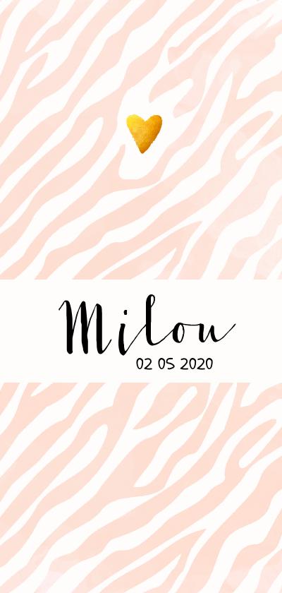 Geboortekaartjes - Geboorte meisje zebra print aquarel roze