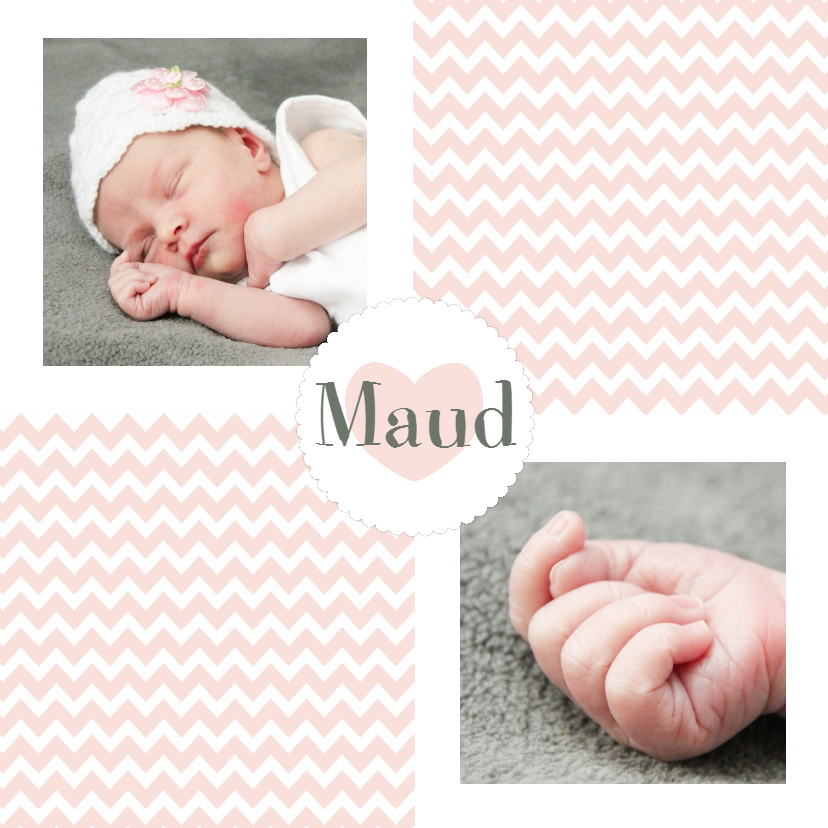 Geboortekaartjes - Geboorte Meisje Zigzag foto - WW