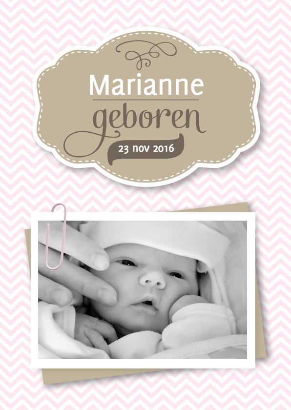 Geboortekaartjes - Geboorte meisje zigzag paperclip