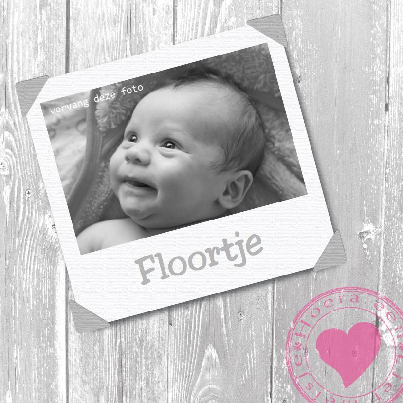 Geboortekaartjes - Geboorte met foto hartje en hout
