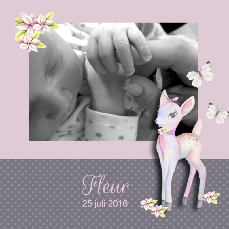 Geboortekaartjes - Geboorte met hertje en foto