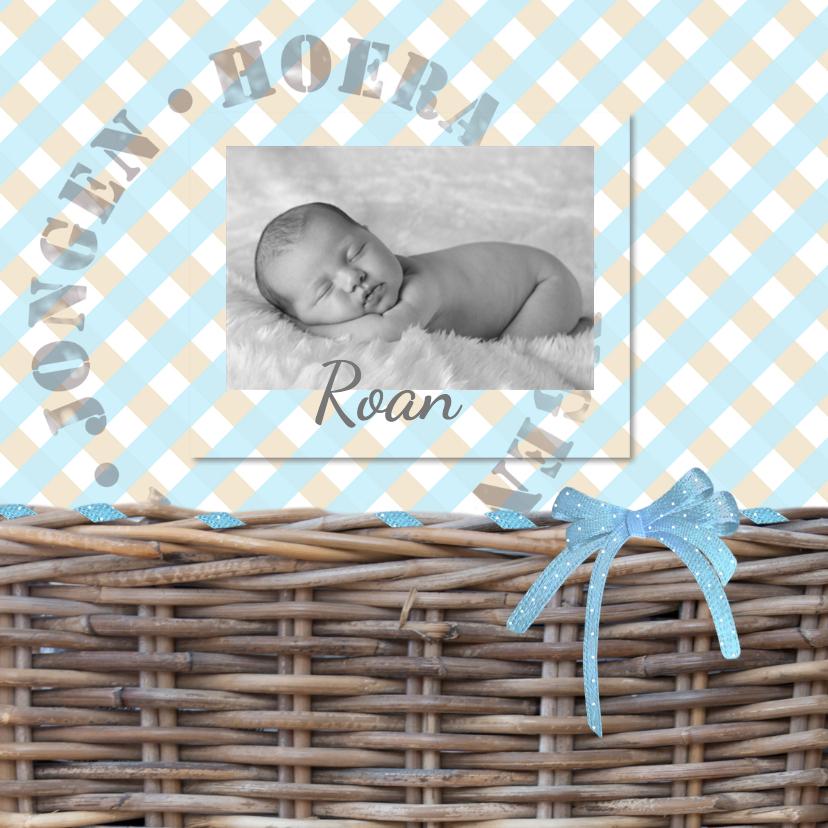 Geboortekaartjes - Geboorte met rieten mand-jongen-