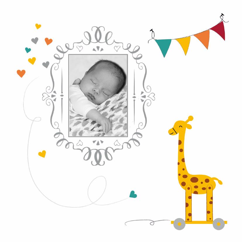 Geboortekaartjes - Geboorte met speelgoed giraf