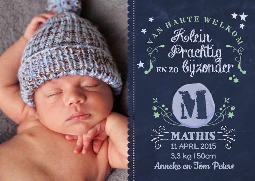 Geboortekaartjes - Geboorte Monogram Schoolbord