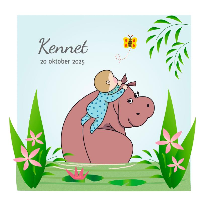 Geboortekaartjes - Geboorte nijlpaard en jongentje