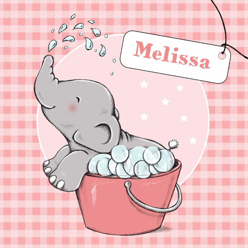 Geboortekaartjes - Geboorte olifant bubbelbad - IH