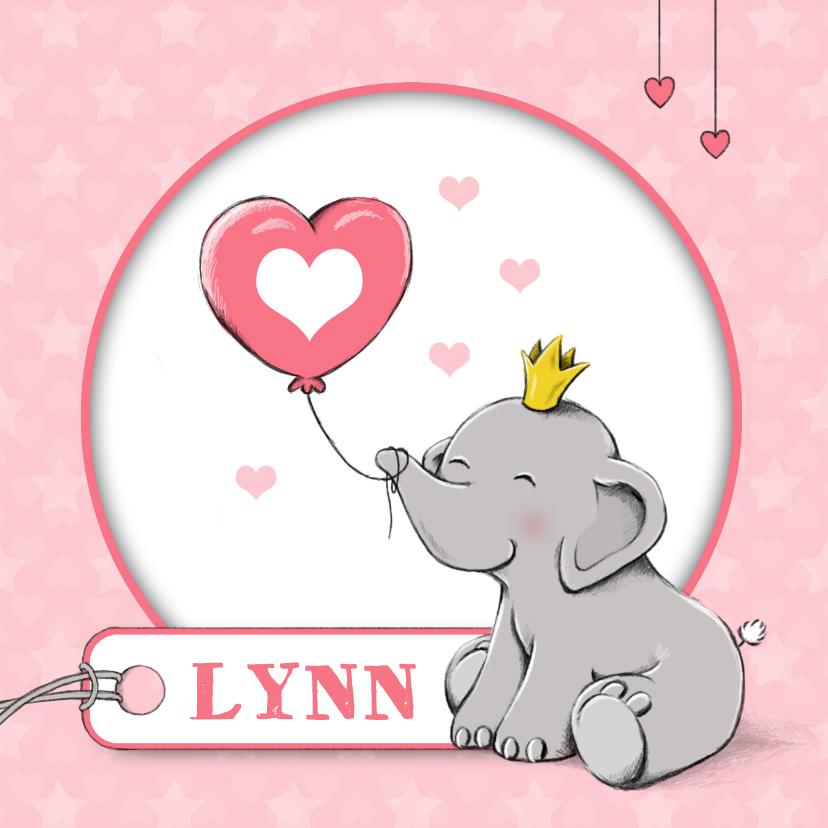 Geboortekaartjes - Geboorte olifant label - IH