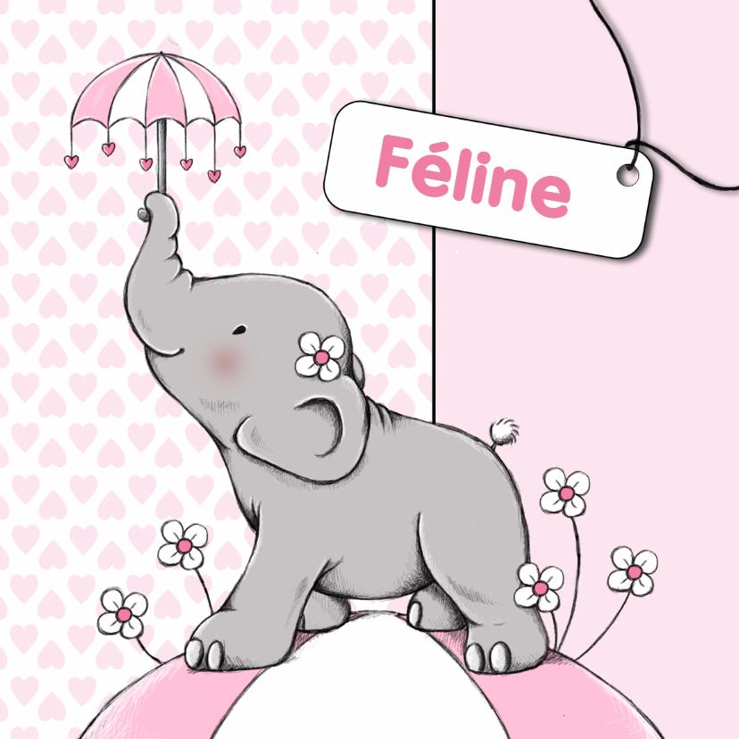 Geboortekaartjes - Geboorte olifant paraplu - IH