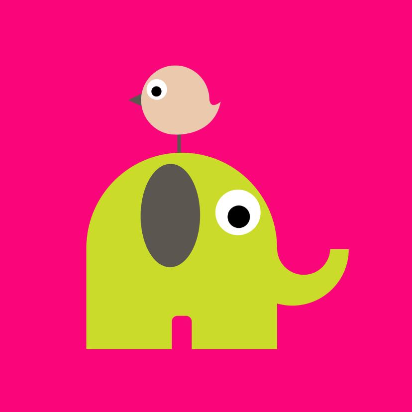 Geboortekaartjes - Geboorte Olifant Vogel Roze