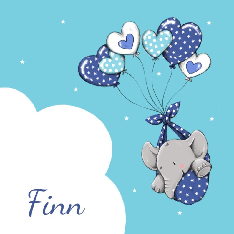 Geboortekaartjes - Geboorte olifantje ballon - IH
