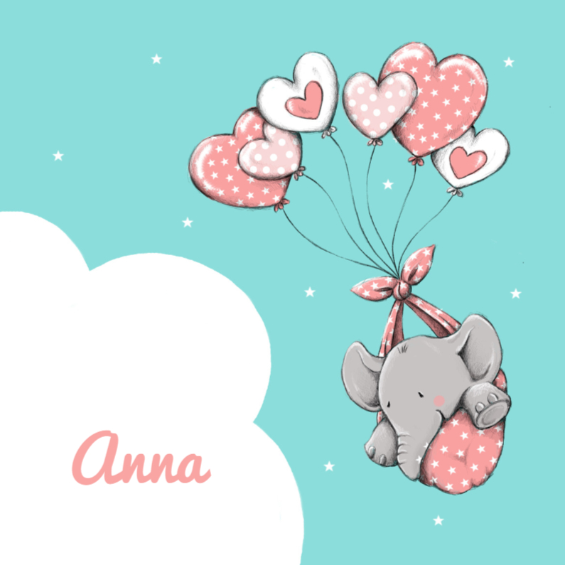 Geboortekaartjes - Geboorte olifantje hartjes - IH