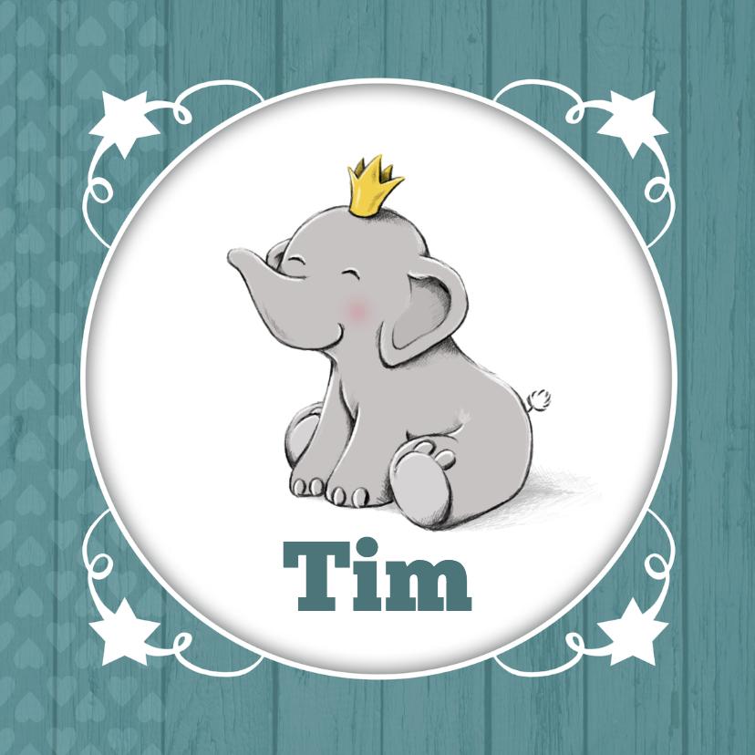 Geboortekaartjes - Geboorte olifantje kroon - IH
