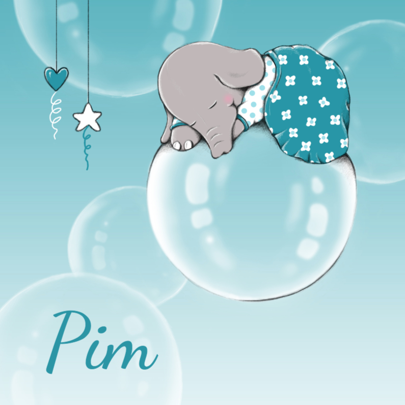 Geboortekaartjes - Geboorte olifantje luchtbel - IH