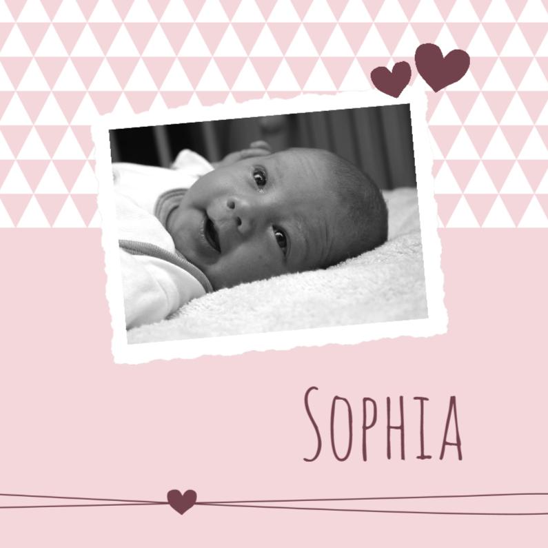 Geboortekaartjes - Geboorte, roze driehoeken foto