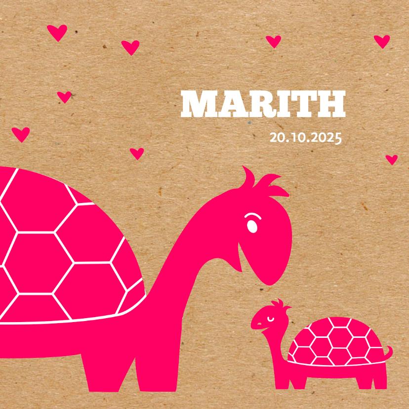 Geboortekaartjes - Geboorte roze kraft schildpadje
