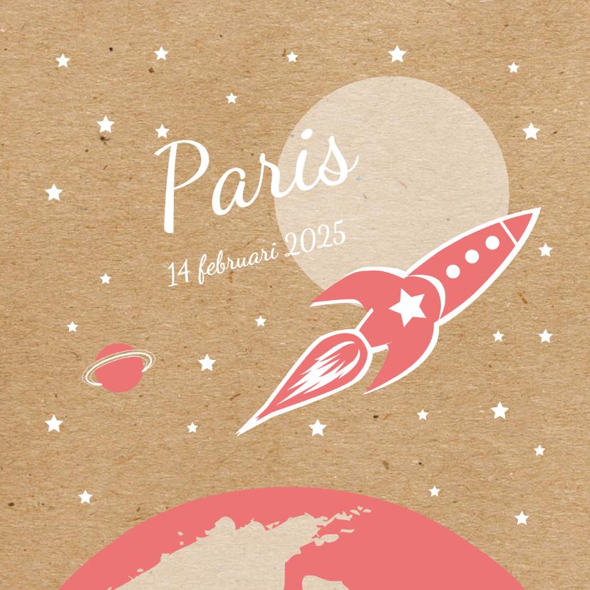 Geboortekaartjes - Geboorte Roze raket in de ruimte